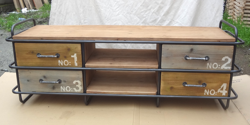 Industrial Retro Loft Woodn and Metal TV Cabinet